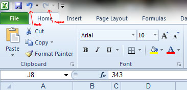... the Undo and Repeat Typing features of Word are also present in Excel