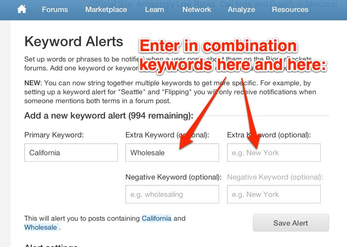Combination Keyword Alerts