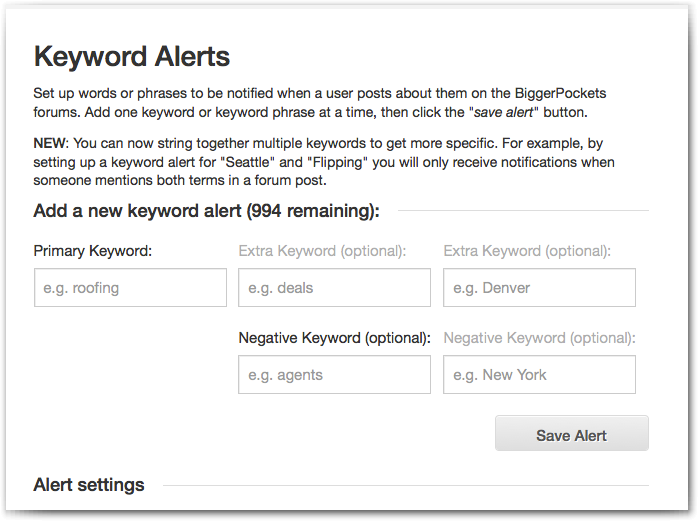 Add Keyword Alerts