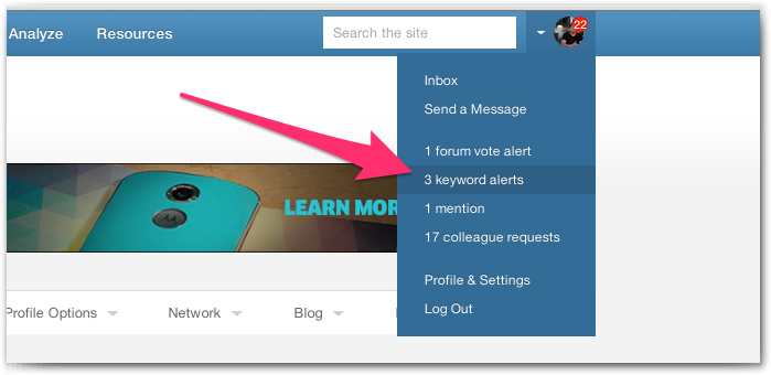 Keyword Alert Notifications Menu
